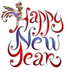 Happy New Year greetings lettering with Rooster vector image