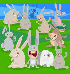 Happy rabbits on meadow cartoon vector