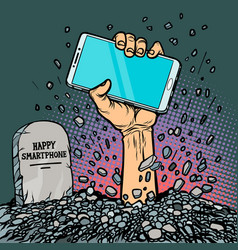 Happy smartphone zombie hand from the grave vector