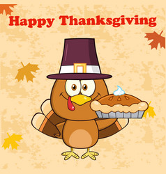 Happy thanksgiving greeting with cute pilgrim vector
