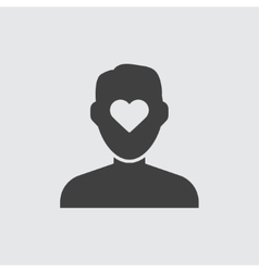 Heart in head icon vector image