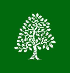 Huge and sacred oak tree silhouette logo vector