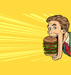 Hungry man with a giant burger street food vector