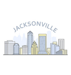 jacksonville cityscape florida - city panorama of vector image