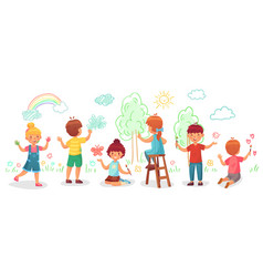 Kids drawing on wall childrens group draw color vector