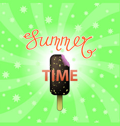 lettering summer time text with ice cream on green vector image