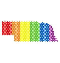 lgbt spectrum dotted nebraska state map vector image