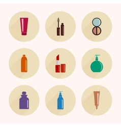 Makeup icons in flat style vector image