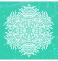 Mandala design in white on aqua green vector