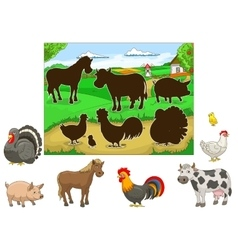 Match animals to their shadows child game vector