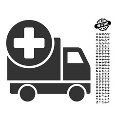 medical delivery icon with people bonus vector image vector image