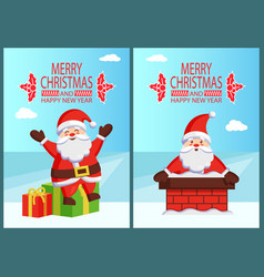 merry christmas happy new year poster with santa vector image