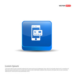 Mobile and credit card icon - 3d blue button vector