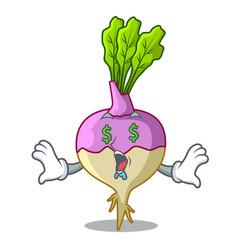 Money eye raw rutabaga root isolated on mascot vector