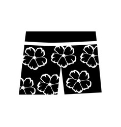 Monochrome silhouette of female hawaiian shorts vector