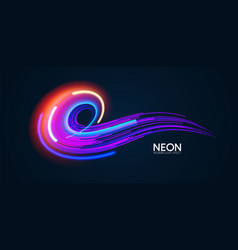 Motion striped light swirl effect with fluid color vector