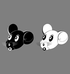 mouse cartoon face head black white vector image