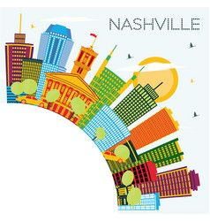Nashville tennessee city skyline with color vector