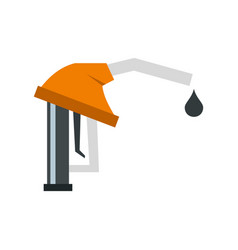 Orange gasoline pump nozzle icon flat style vector