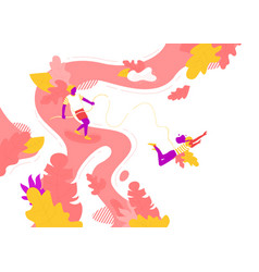 People bungee jumping in summer vector