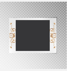 photo frame with a pattern of gold foil vector image