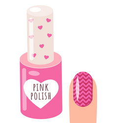 pink nail polish and a woman s hand with a pattern vector image