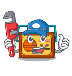 Plumber radio mascot cartoon style vector