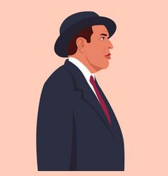 portrait an elderly italian man in profile vector image