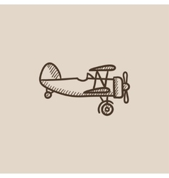 Propeller plane sketch icon vector image