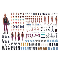 punk rocker diy or animation kit bundle of young vector image