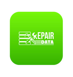 Repair data icon green vector