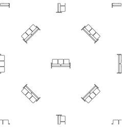 Retro sofa icon outline style vector