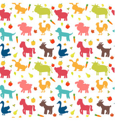 Seamless pattern with farm animals vegetables vector