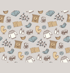 Seamless pattern with hygge concept and cozy home vector