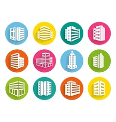 Set buildings icons on colorful web buttons vector