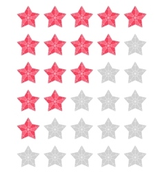 Set of red rating stars vector image