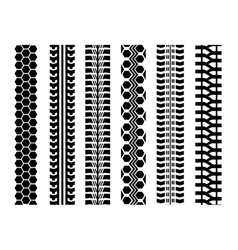 Set of six car tire track isolated flat style vector