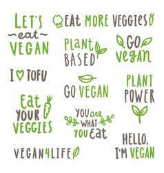 Set of vegan text labels vector