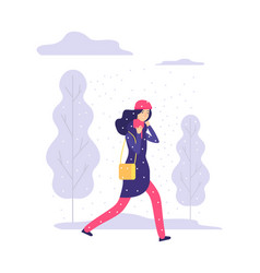 snowy walking day winter weather woman going vector image
