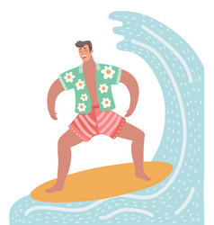 surfer character on surfboard vector image