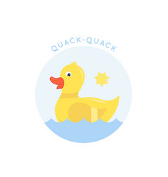 swimming little duck abstract sign emblem vector image