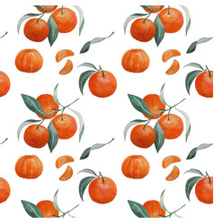 tangerine branch and slice seamless pattern vector image