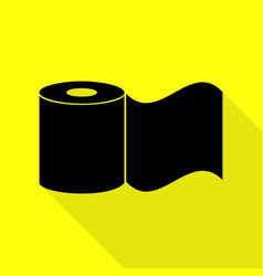toilet paper sign black icon with flat style vector image