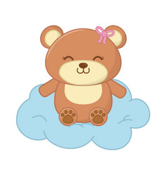 toy bear with cloud vector image