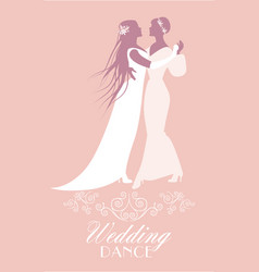 Two brides dancing the wedding dance homosexual vector