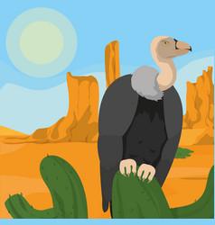 vulture on desert vector image