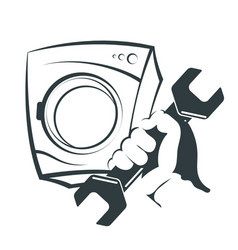 washing machine repair silhouette vector image