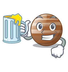 with juice jupiter planet the isolated with mascot vector image