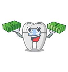 With money bag braces in a cartoon shape vector