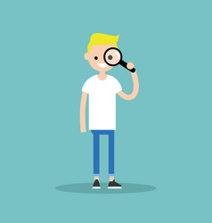 Young blond boy looking through the magnifying vector